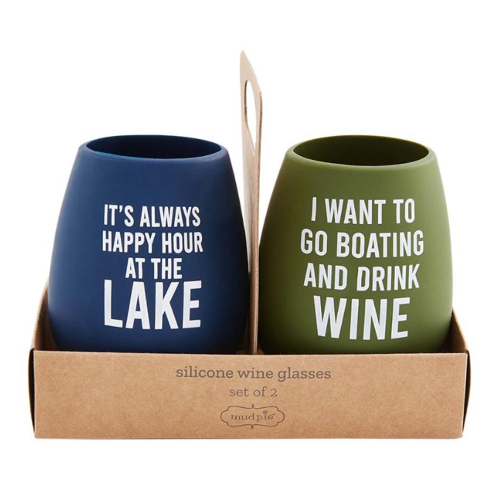 Mud Pie Mud Pie Lake Wine Silicone Cup Sets