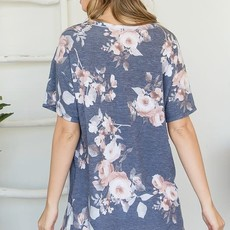 First Love Charcoal Peach Floral Side Slit Top (S-3XL)