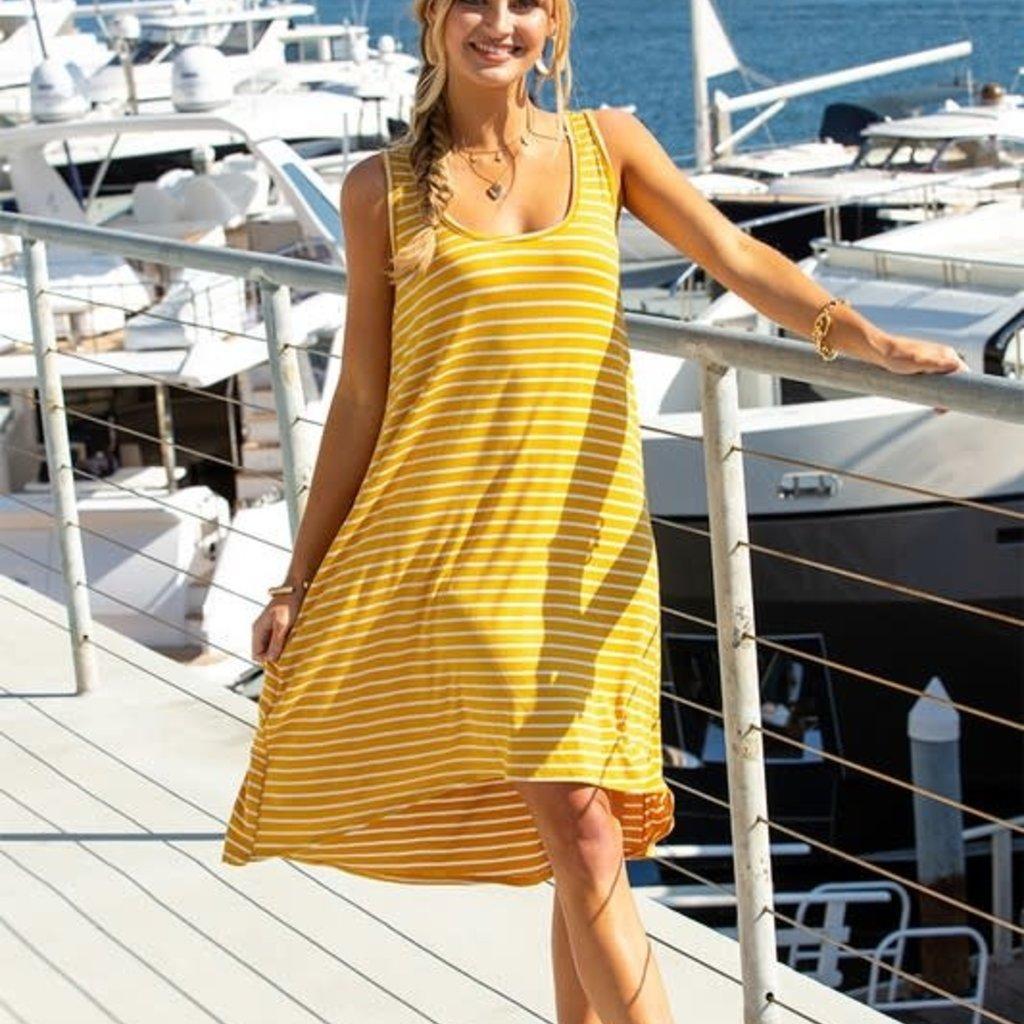 Ninexis Mustard Stripe Hi-Lo Dress (S-3XL)