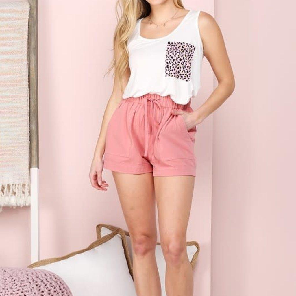 Ninexis Pink Drawstring Casual Shorts (S-XL)