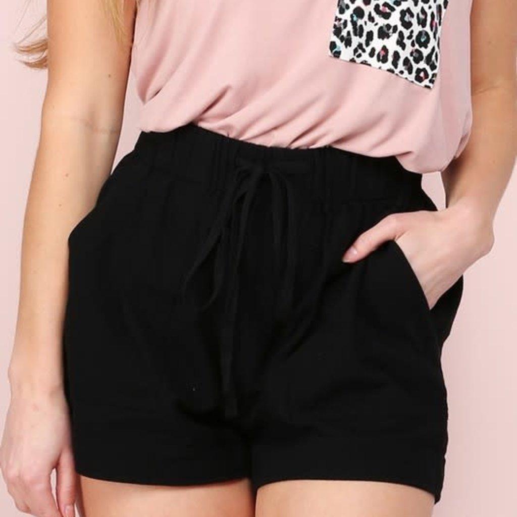 Ninexis Black Drawstring Casual Shorts (S-XL)