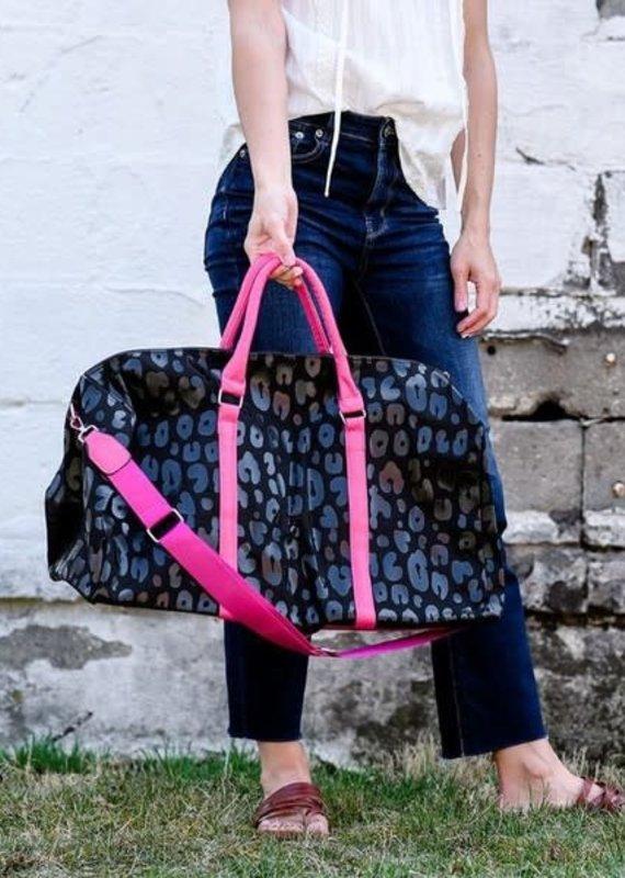 Julia Rose Large Black & Pink Leopard Tote