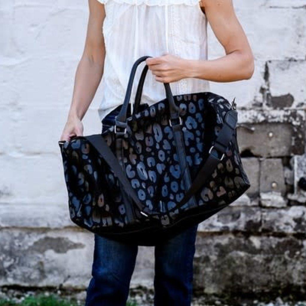 Julia Rose Large Black on Black Leopard Tote