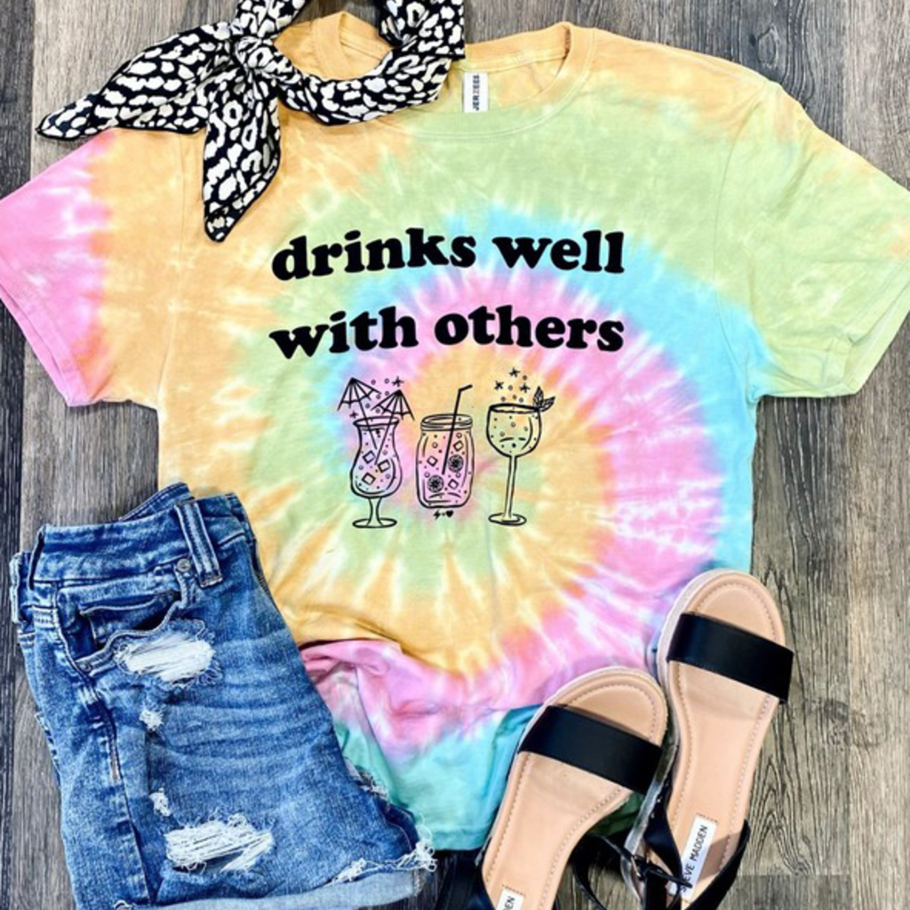 Jerzees Brand Drinks Well With Others Tie Dye Tee (S-XL)