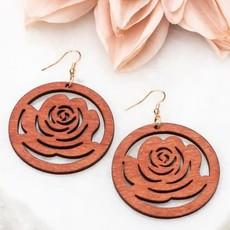 Aili's Corner Boho Rose Wood Earrings
