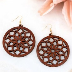Aili's Corner Boho Sunflower Wood Earrings