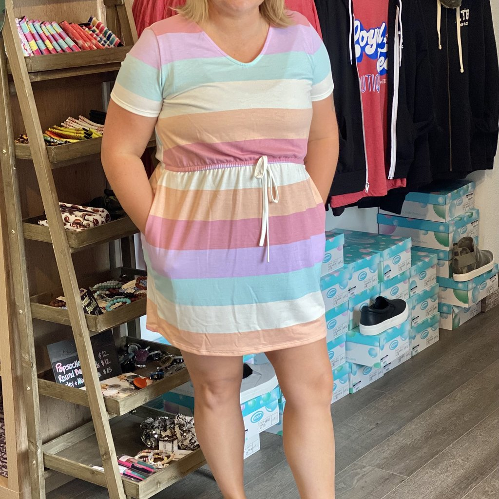 Vanilla Bay Summer Time Striped Dress (S-3XL)