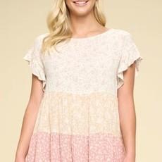 Oddi Oatmeal & Blush Floral Blouse (S-3XL)