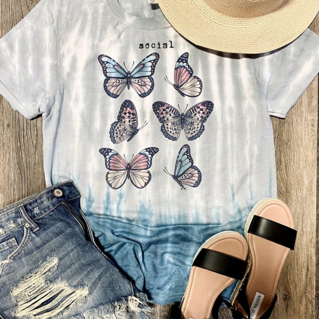 Jerzees Brand Social Butterfly Ombre Tee (S-3XL)