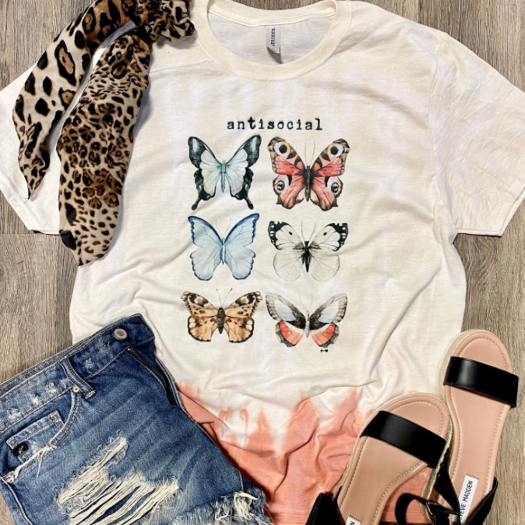 Jerzees Brand Anti-Social Butterfly Ombre Tee (S-3XL)