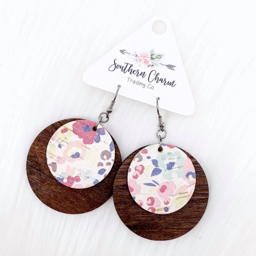 Southern Charm Trading Co Pastel Wood + Cork Earrings