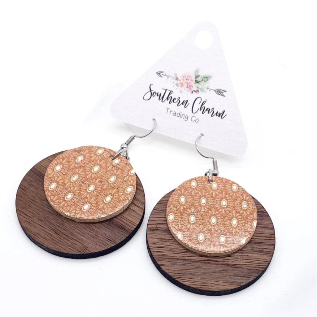 Southern Charm Trading Co Tan Boho Wood + Cork Earrings