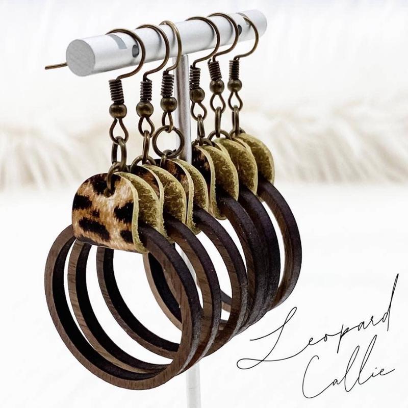 Southern Charm Trading Co Leopard Wood Hoop Earrings