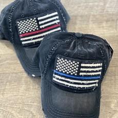 Hana Black Thin Blue Line Distressed Hat