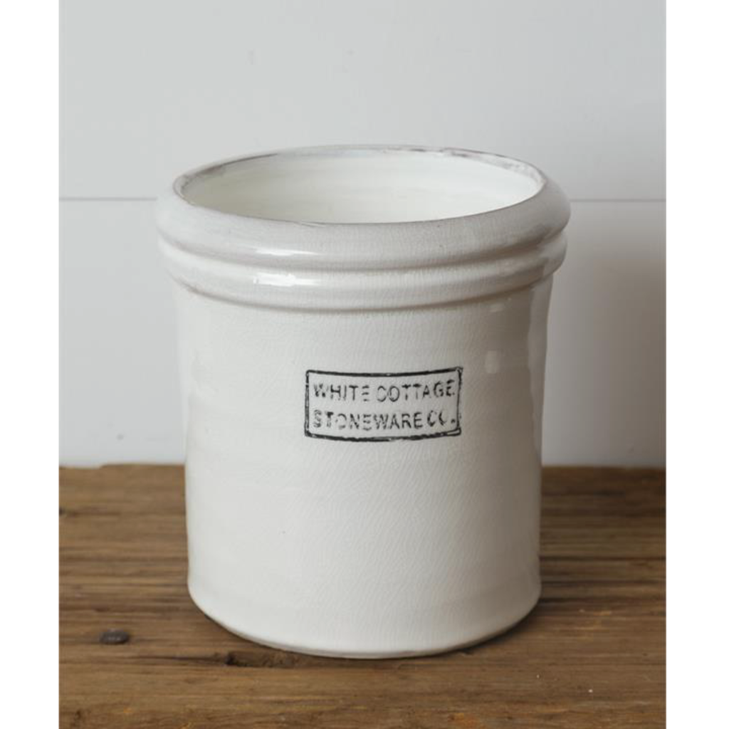 Audrey's Large White Cottage Stoneware Crock