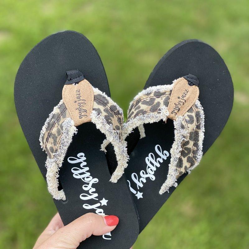 Very G Gypsy Jazz Tan Leopard Flip Flops (6-11)