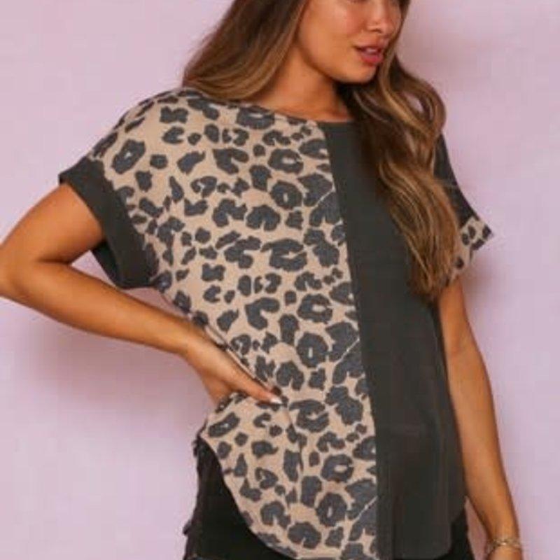 Fantastic Fawn Charcoal Leopard Split Top (S-L)