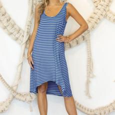 Ninexis Blue Stripe Hi-Lo Dress (S-3XL)