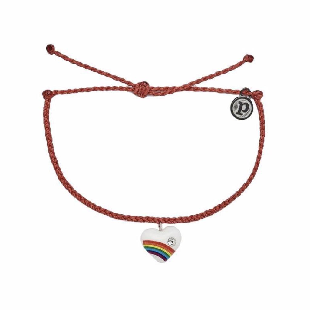 Puravida Pura Vida Red Vintage Heart Charm Bracelet
