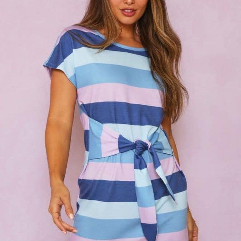 Fantastic Fawn Denim Stripe Tie Mini Dress (S-L)