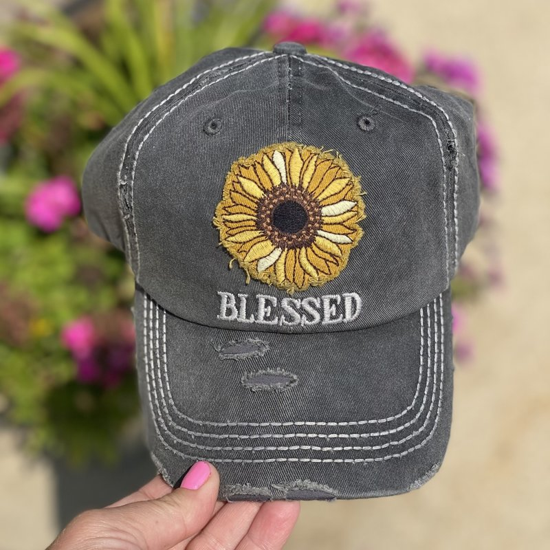 Your Fashion Wholesale Charcoal Blessed Sunflower Hat