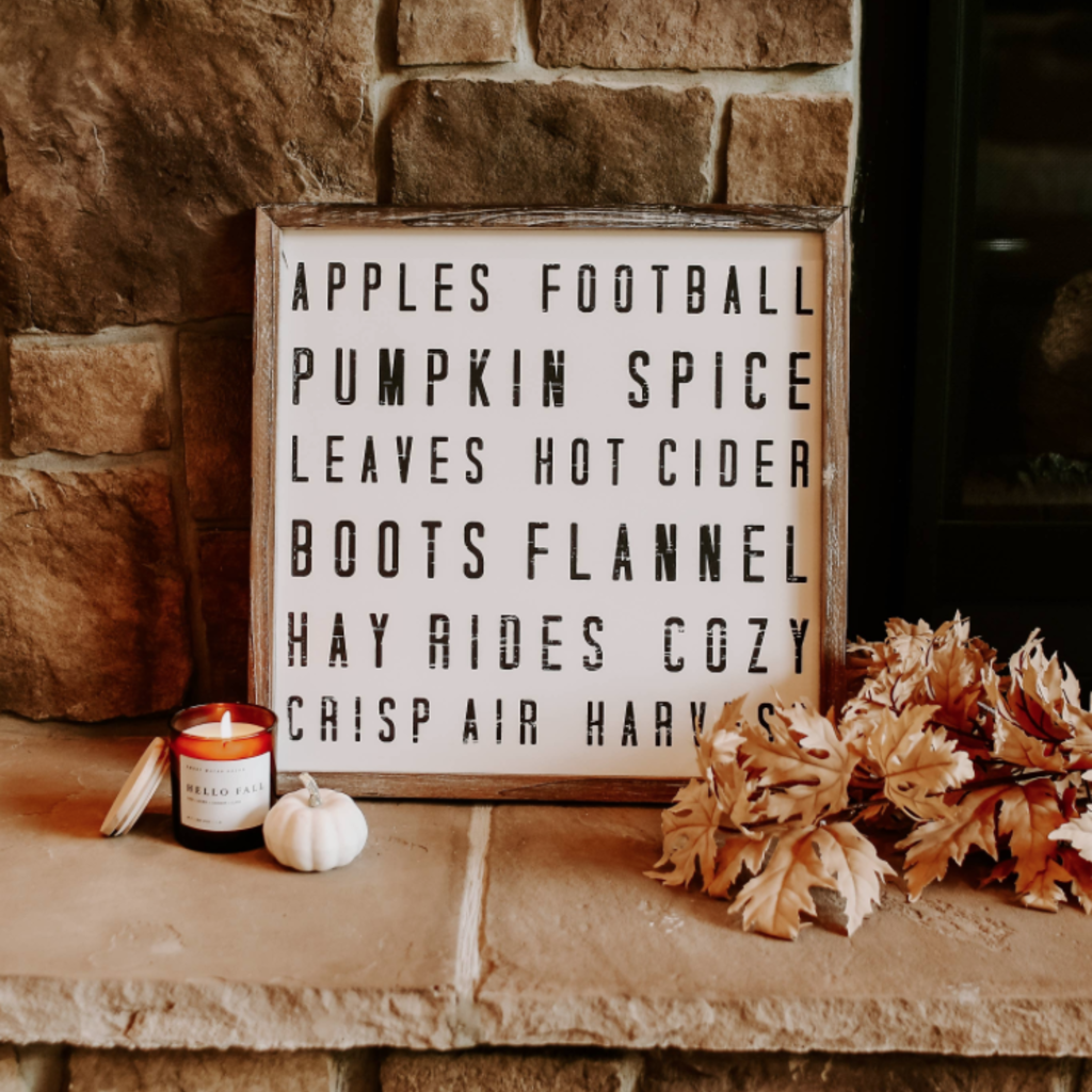 Sweet Water Decor Fall Words Wood Sign 18x18