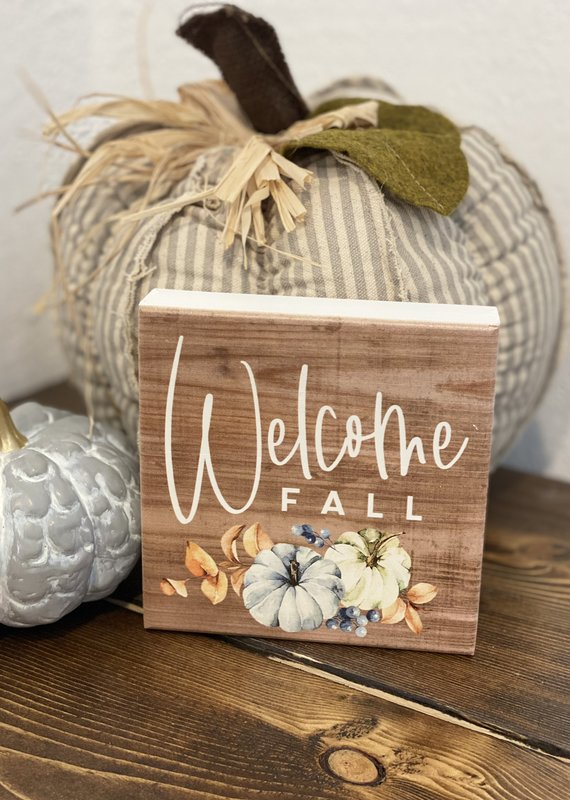 Sincere Surroundings Welcome Blue Pumpkin Square Sign