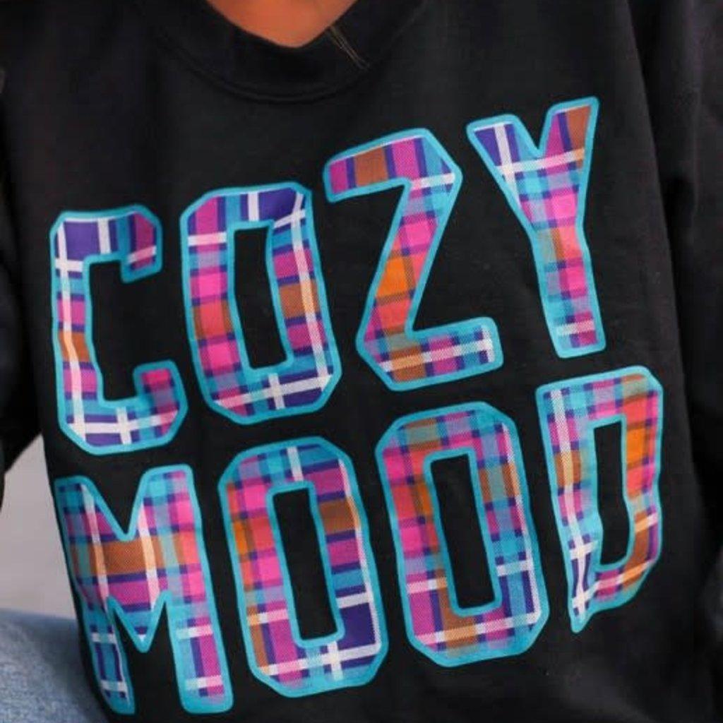 Gildan Black Plaid Cozy Mood Crew Sweatshirt (S-3XL)