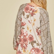 Haptics Olive Taupe Floral Top (S-3XL)