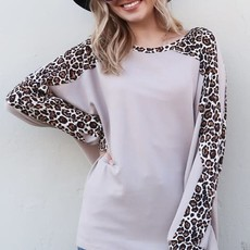 And the Why Leopard Taupe Hi-Lo Sweater (S-L)