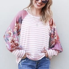 And the Why Blush Floral Stripe Top (S-L)