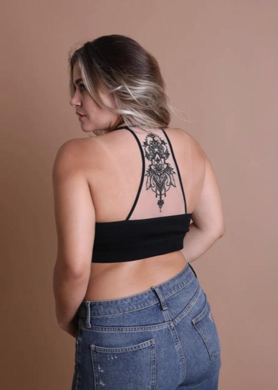 Leto Mesh Black Tattoo Lace Bralette (XS-3XL)
