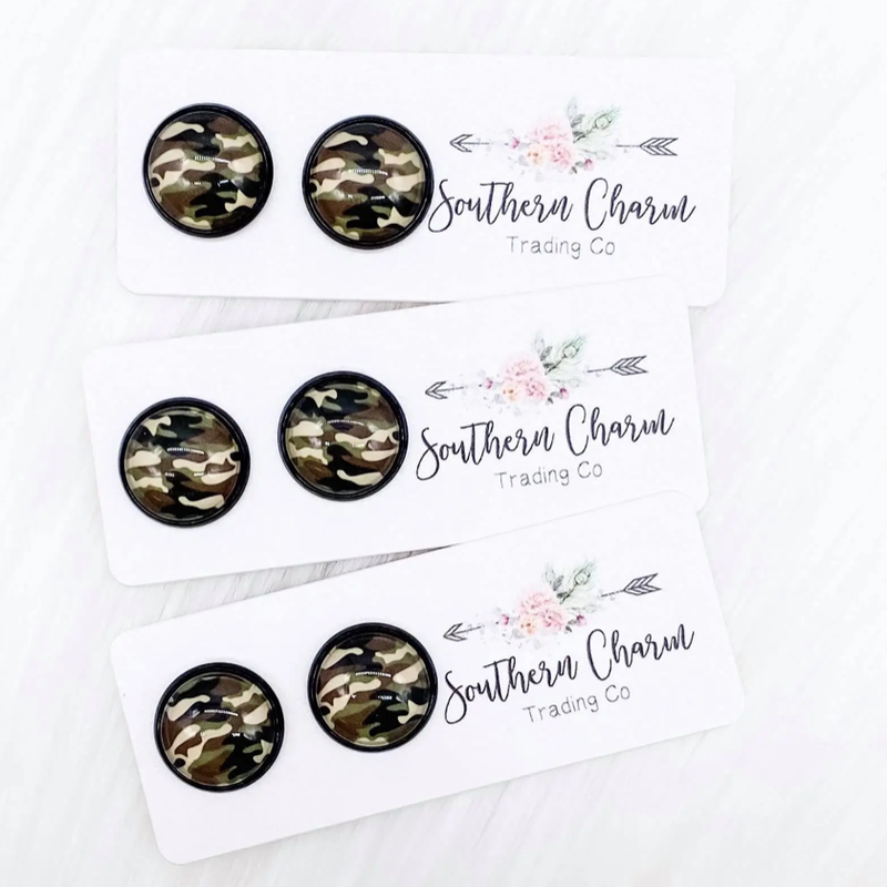 Southern Charm Trading Co 12mm Round Camo Earrings