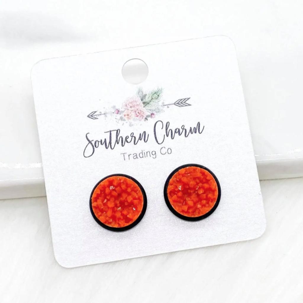 Southern Charm Trading Co 12mm Orange on Black Earrings