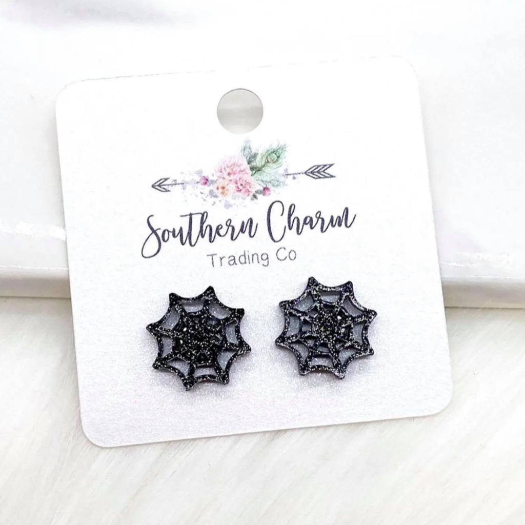 Southern Charm Trading Co Glitter Spider Web Earrings