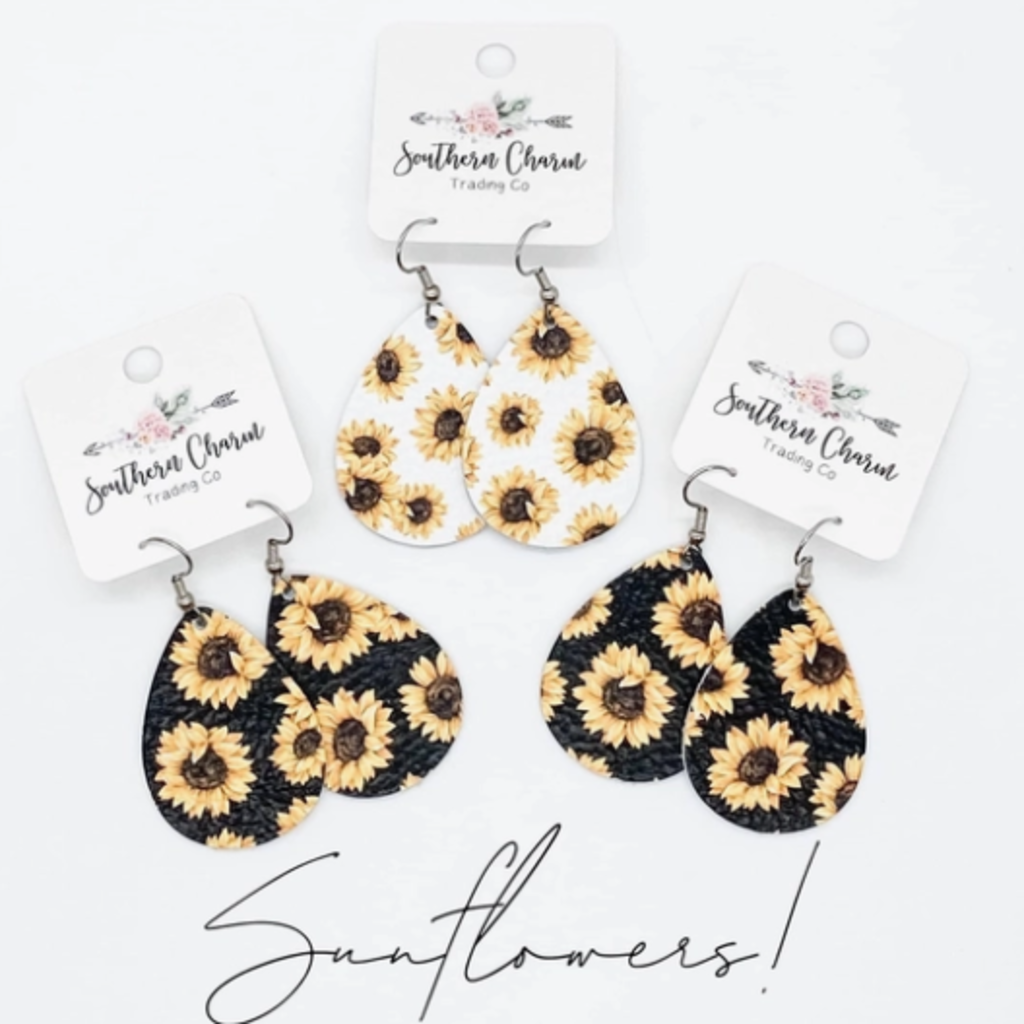 Southern Charm Trading Co Black Mini Leather Sunflower Earrings