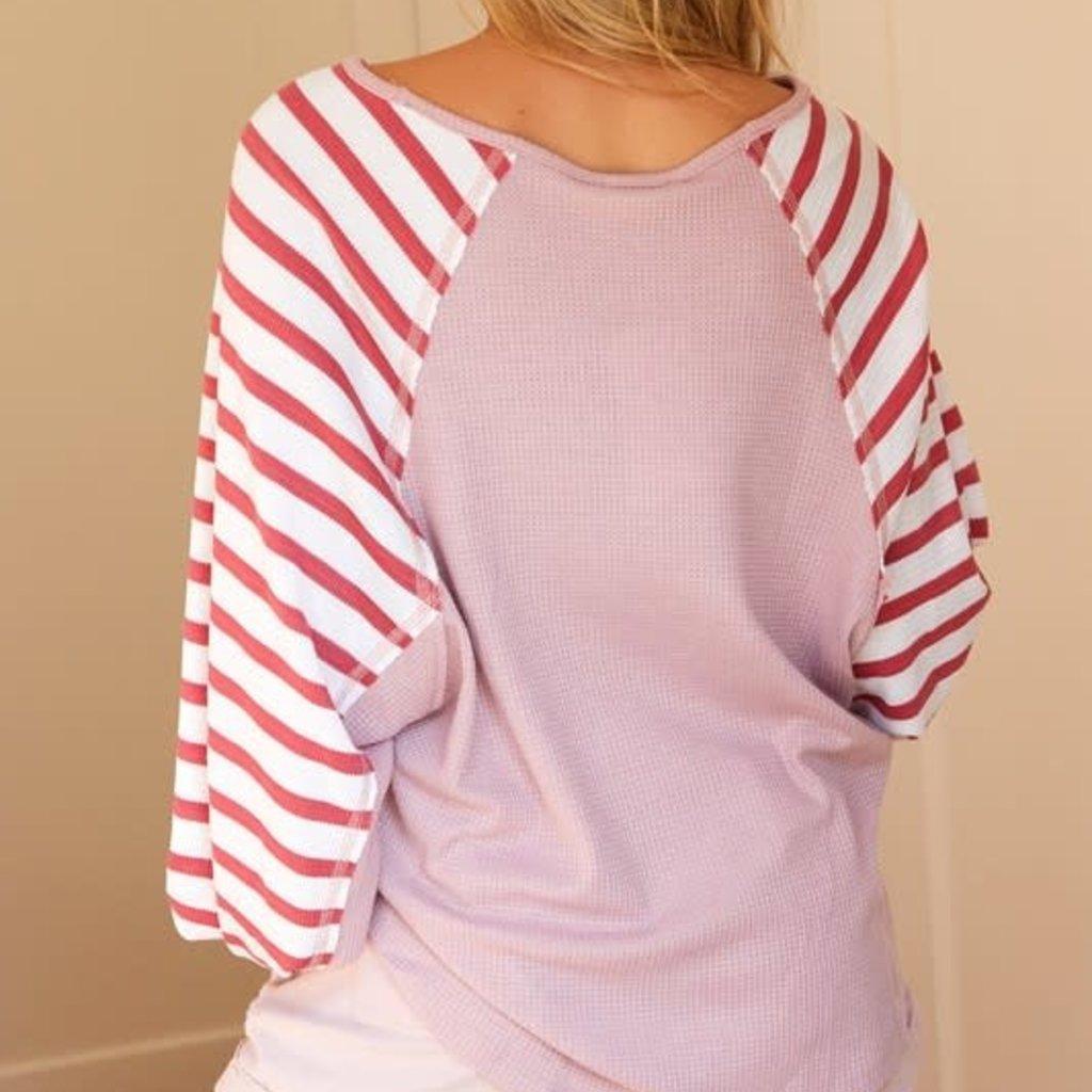 Ninexis Blush Striped Raglan Thermal Top (S-XL)