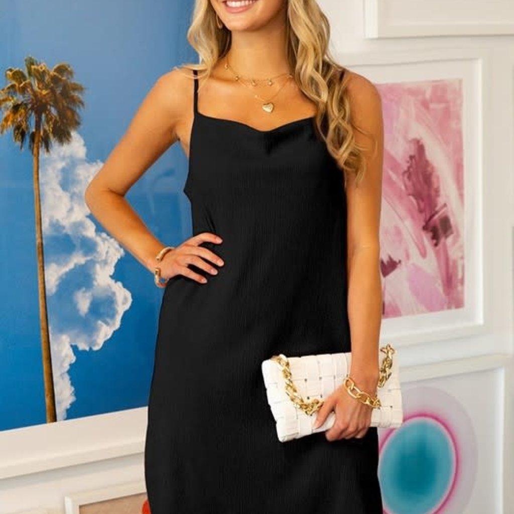Ninexis Black Romantic Cowl Neck Slip Dress (S-XL)