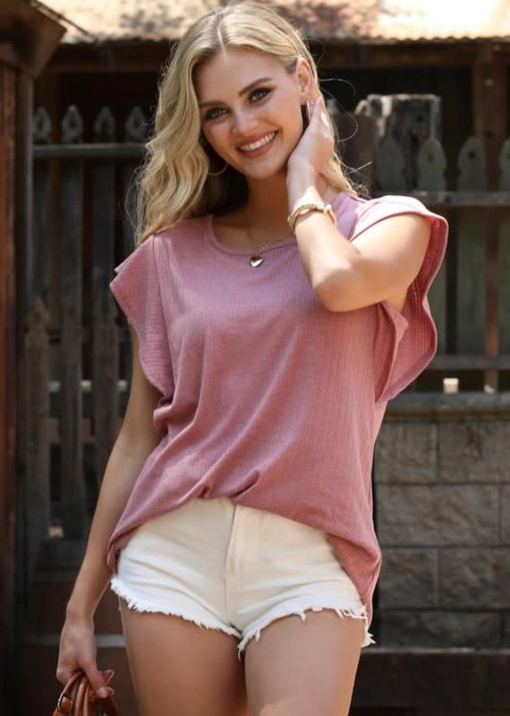 Ninexis Mauve Butterfly Sleeve Top (S-XL)