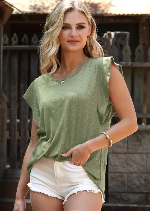 Ninexis Sage Butterfly Sleeve Top (S-XL)
