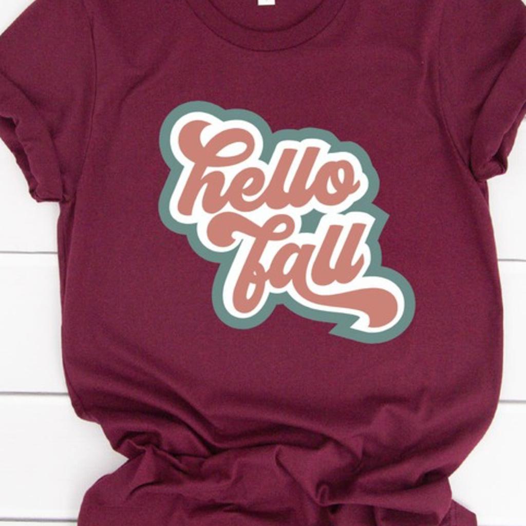 Bella Canvas Burgundy Hello Fall Retro Tee (S-3XL)