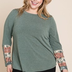 Emerald Collection Olive Button Long Sleeve Top (S-3XL)