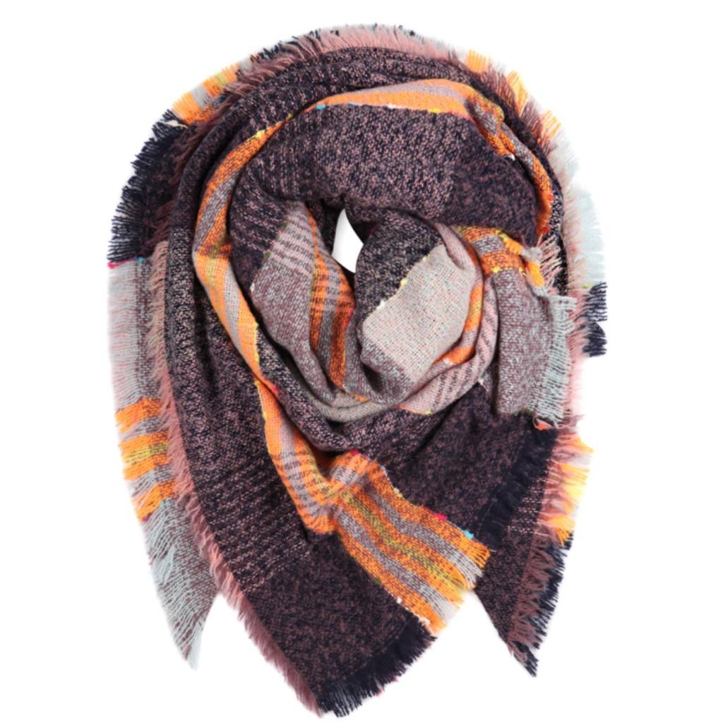 MYS Wholesale Fringed Blanket Scarf Orange