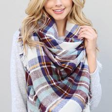 MYS Wholesale Fringed Blanket Scarf Brown
