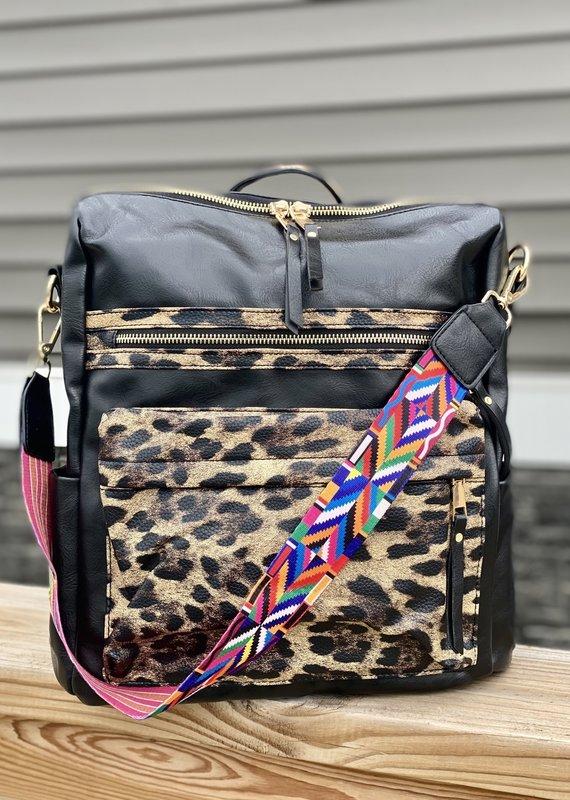 Julia Rose Leopard Guitar Strap Backpack