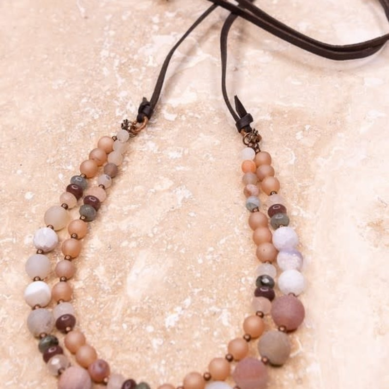 Dylan Jewelry Leather Petra Stone Adjustable Necklace