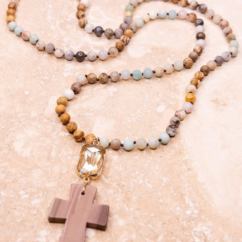Dylan Jewelry Bamboo Stone Cross Long Necklace