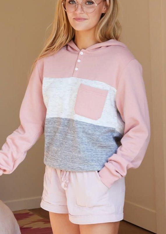Ninexis Pink Color Block Hoodie (1XL-3XL)