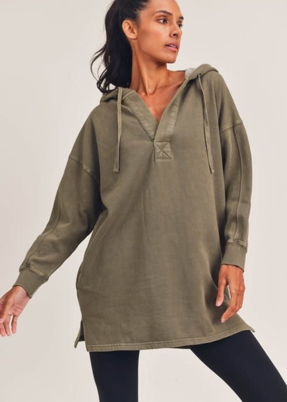Mono B Olive Oversized Tunic Hoodie (S-3XL)