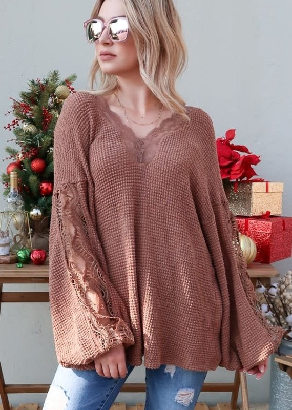And the Why Brown Waffle Lace Top (S-3XL)